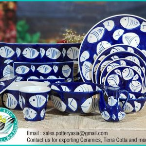 Dinner Set blue Glazed Fish Pattern