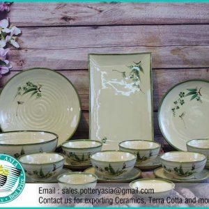 Dinner Set Ceramic Glazed Bamboo Leaf