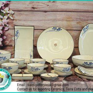 Dinnerware Set Ceramic Glazed Blue Lotus