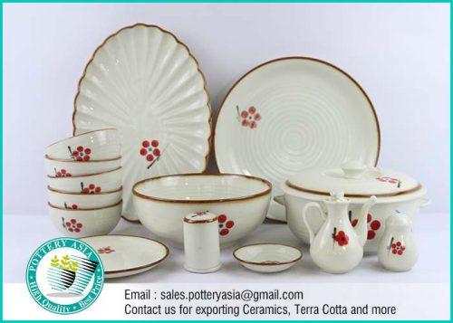 Dinnerware Set Japanese Style Flowers