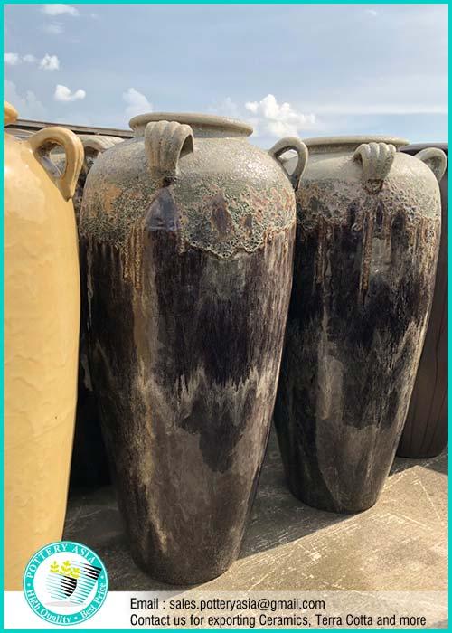 Huge Ceramic Jugs Stone Glazed For Decorative Garden