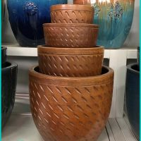 Flower Pots Copper Glazed Ceramics