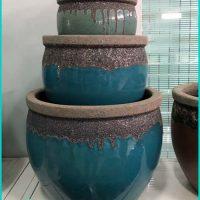 Round Ceramic Planter Pots Vintage
