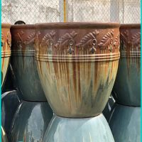 Vintage Outdoor Glazed Ceramic Pots. Large Ceramic Pots