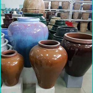 Indoor Flower Pots - Wine Jar Shaped Ceramic Decorative Garden Pots