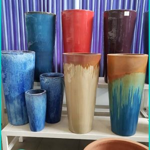 Tall Glazed Ceramic Garden Pots , Flower Vase