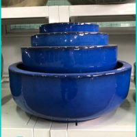 low flower pots cobalt glazed ceramics