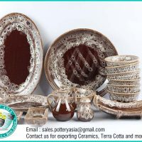 Dinnerware Set Red Brown Sea Foam Glazed