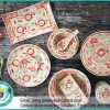 Dinnerware Set Red Daisy Pattern