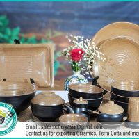 Dinnerware Set Sandstone Inside Black Coated
