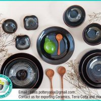 Dinnerware Set Shiny Black Sea Foam
