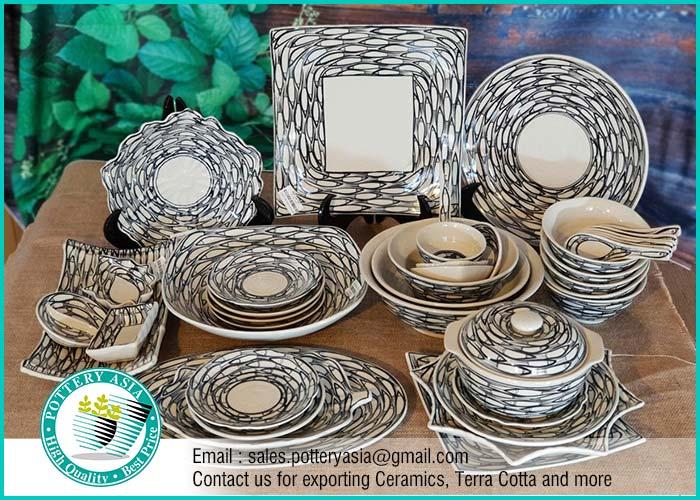 Dinnerware Set Small Fish Pattern