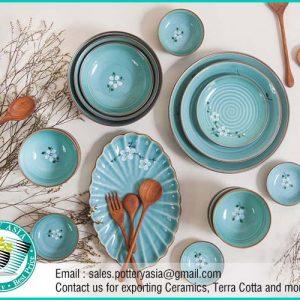 Dinnerware Set Turquoise Glazed Spring Flowers
