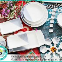 Dinnerware Set White And Grey Matte