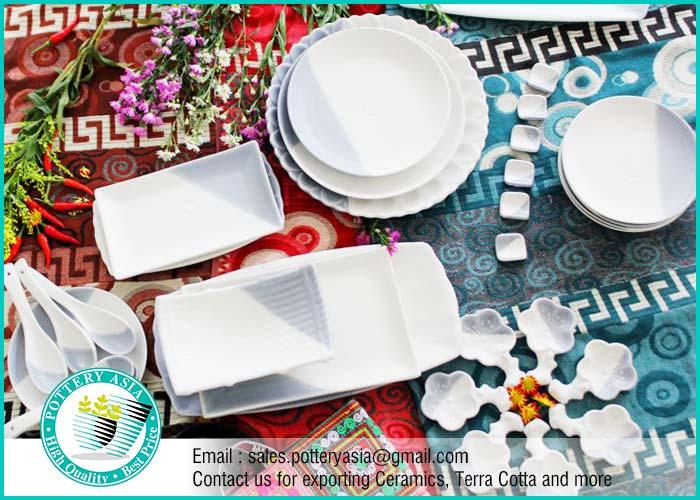 Dinnerware Set White And Grey Matte