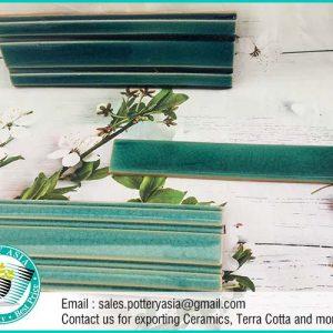 Ceramic Tile Baseboard Green