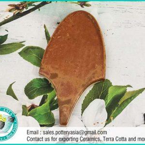 Ceramic Tile Leaf Shape Brown Solid