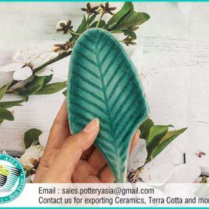 Ceramic Tile Leaf Shape Green Pattern