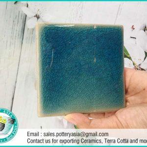 Ceramic Tile Square Green Solid