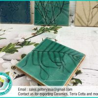 Ceramic Tile Square Leaves Pattern