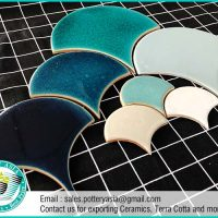 Ceramic Tiles Fan Shape Solid Color , Swimming Pool Tiles