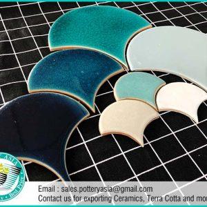 Ceramic Tiles Fan Shape Solid Color , Swimming Pool Tiles