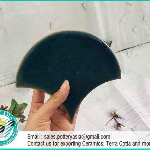Ceramic Tiles Fan Shape Solid Dark Green
