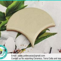 Ceramic Tiles Fan Shape Solid Ivory White
