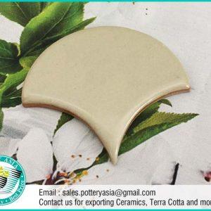 Ceramic Tiles Fan Shape Solid Ivory White