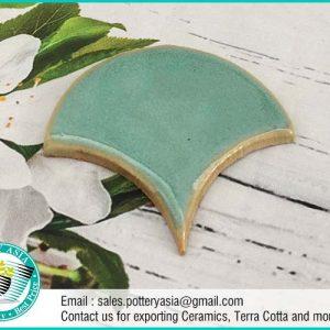 Ceramic Tiles Fan Shape Solid Light Green