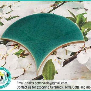Ceramic Tiles Fan Shape Solid Teal Green