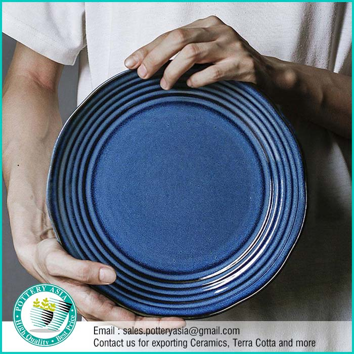 Dinnerset Ceramic Blue Cobalt Smooth Glaze with Stripes