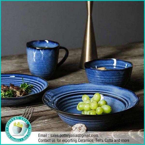 Dinnerset Ceramic Blue Cobalt Smooth Glaze with Stripes