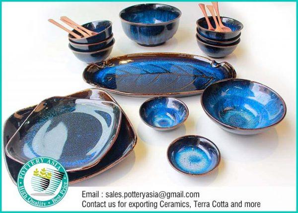 Dinnerset Dark Cobalt Unique Glaze