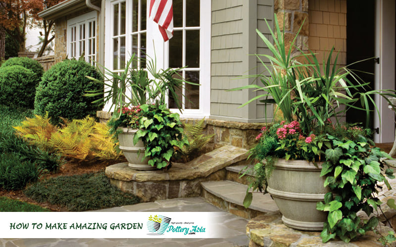 Wonderful garden decorating with ceramic planter pots