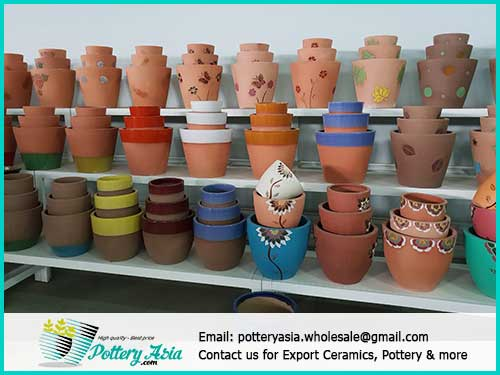 Beautiful ceramic flower pots decorated for houses, shops, cafes