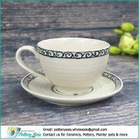 Công ty sản xuất ly cốc sứ giá sỉ , xuất khẩu bộ ly tách sứ . Cappuccino cup ivory white glaze with decorative rim