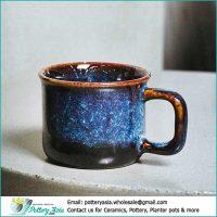 Ceramic coffee cup Blue cobalt glaze dark bottom. Cốc gốm sứ giá sỉ, cung cấp ly cốc tách gốm sứ, xuất khẩu ly sứ