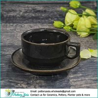Ceramic espresso cup Black glazed with saucer