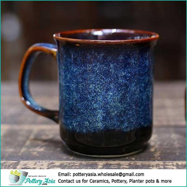 Xuất khẩu sản phẩm gốm sứ Việt Nam, ly cốc tách gốm sứ. Ceramic mug Blue cobalt glaze dark bottom