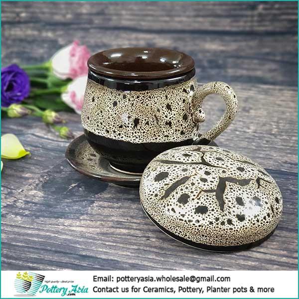 Coffee cup unique glaze with saucer. Cốc gốm sứ giá sỉ, cung cấp ly cốc tách gốm sứ, xuất khẩu ly sứ