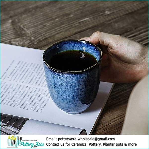 Coffee mugs Blue cobalt glazed. Cốc gốm sứ giá sỉ, ly tách cafe gốm sứ in hình