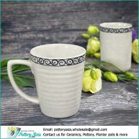 Ceramic mug ivory white glaze with decorative rim