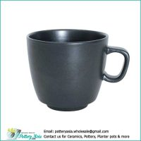 Ceramic cup solid black color matte glazed