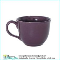 Ceramic cup solid eggplant color matte glazed