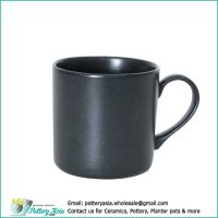 Ceramic mug solid black color matte glazed