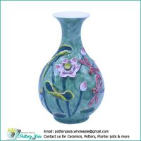 Ceramic vase bulging with flared rim, red dragonfly, green glazed