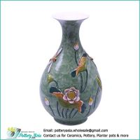 Ceramic vase bulging with flared rim, sage green glazed