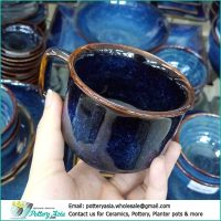 Coffee cup luxury blue glazed with brown rim