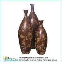 Decorative vases floral pattern, brown color, oblong shape